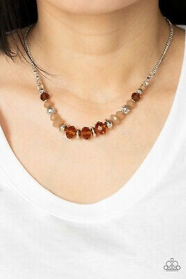 Turn Up The Tea Lights - Brown Necklace