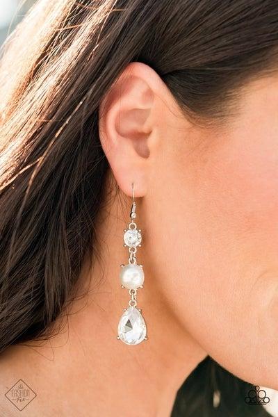 Unpredictable Shimmer - White Earrings