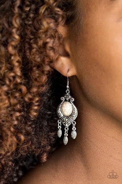 Enchantingly Environmentalist - White Earrings