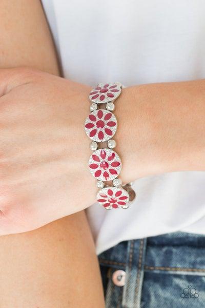 Dancing Dahlias - Red Stretchy Bracelet