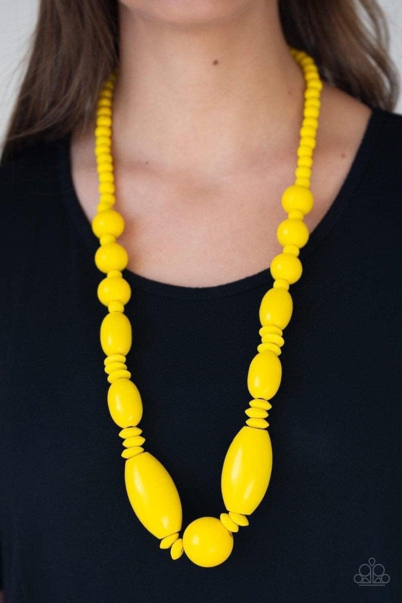 Summer Breezin - Yellow Wooden Necklace