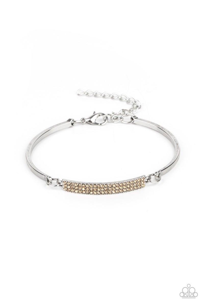 Showy Sparkle - Brown Clasp Bracelet
