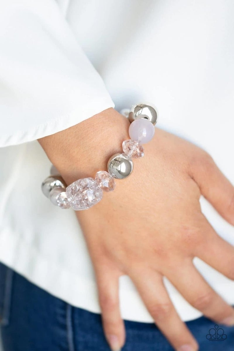 Ice Ice-Breaker - Silver Stretchy Bracelet