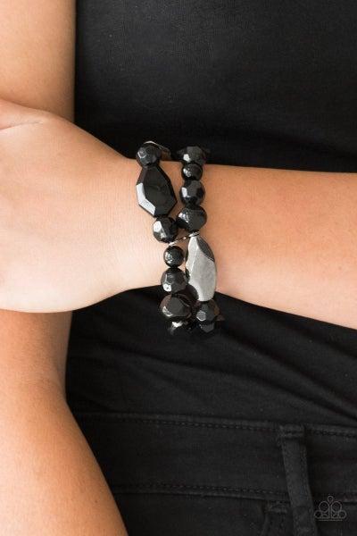 Rockin Rock Candy - Black Stretchy Bracelet