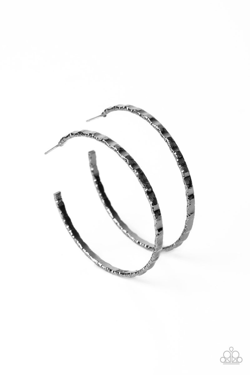 Grungy Grit - Gunmetal Hoop Earrings
