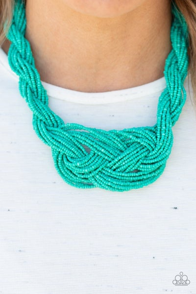 A Standing Ovation - Blue Seed Bead Necklace