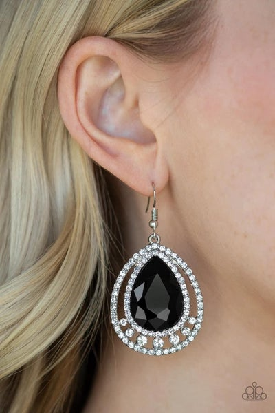 All Rise For Her Majesty - Black Earrings