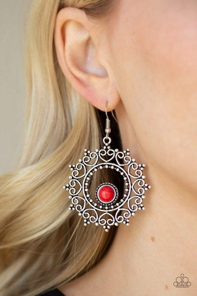 Wreathed In Whimsicality - Red Earrings