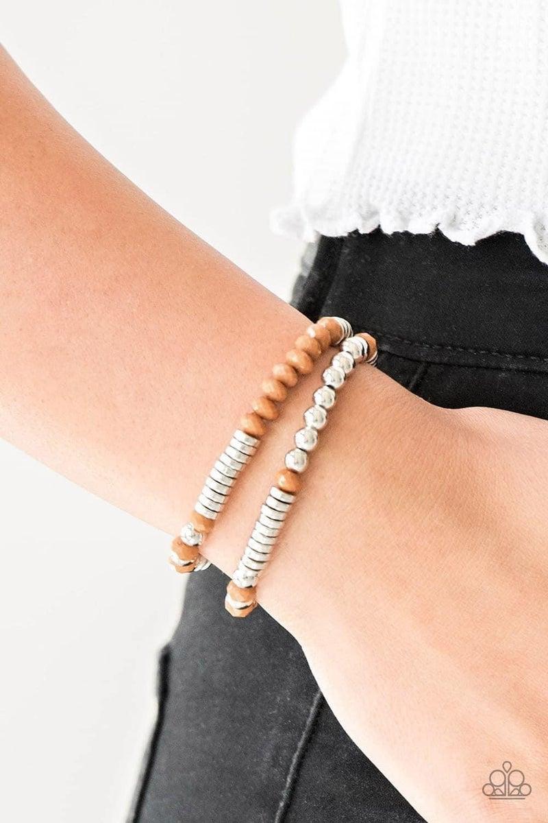 Downright Dressy - Brown Stretchy Bracelet