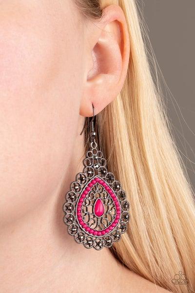 Carnival Courtesan - Gunmetal Earrings
