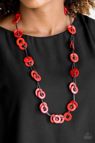 Waikiki Winds - Red Wooden Necklace