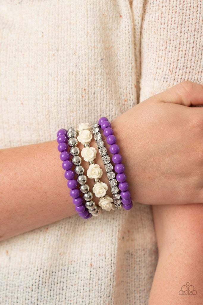 Rose Garden Grandeur - Purple Stretchy Bracelet