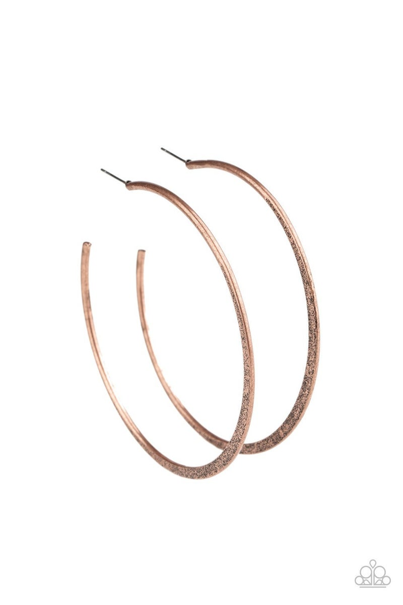 Flat Spin - Copper Hoop Earrings