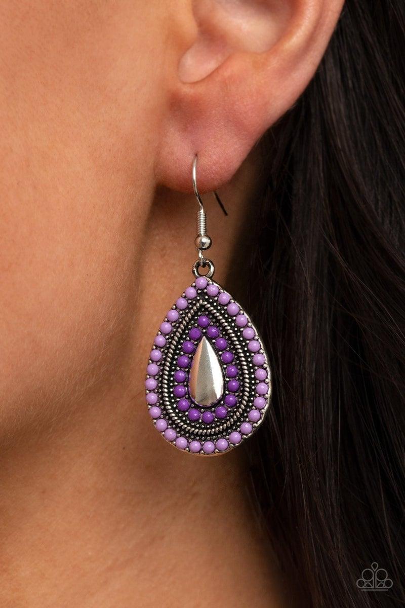 Beaded Bonanza - Purple Earrings