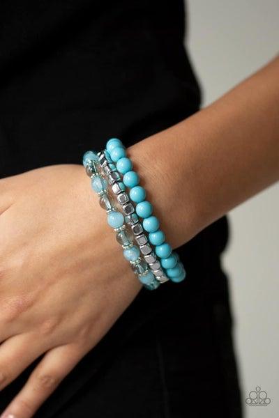 Globetrotter Glam - Blue Stretchy Bracelet