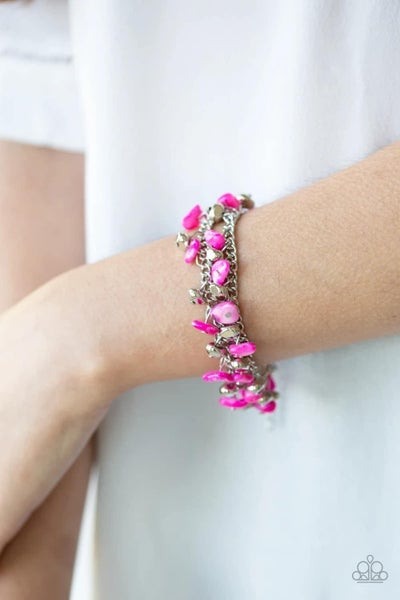 Plentiful Pebbles - Pink Clasp Bracelet