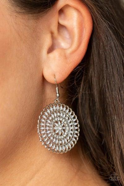 Pinwheel and Deal - White Earrings