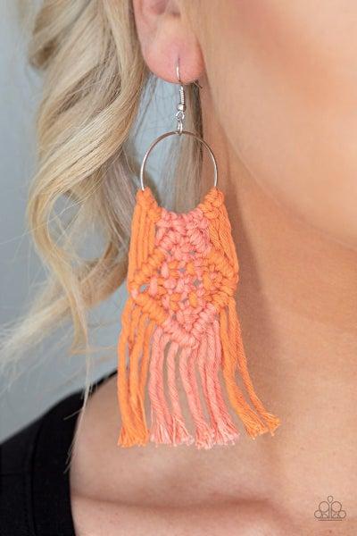 Macrame Rainbow - Orange Earrings
