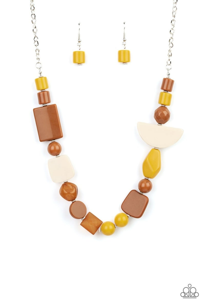 Tranquil Trendsetter - Yellow Necklace