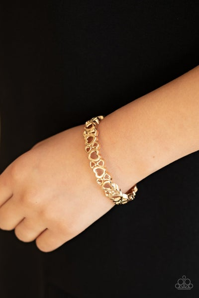 You HEART The Lady! - Gold Hinged Bracelet