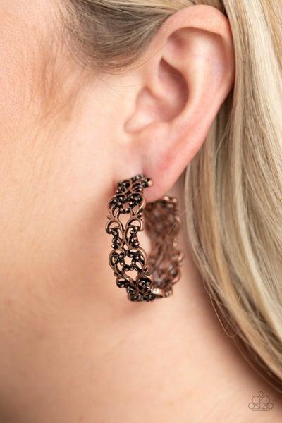 Laurel Wreaths - Copper Hoop Earrings