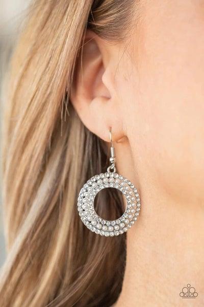 Sparkle Splurge - White Earrings