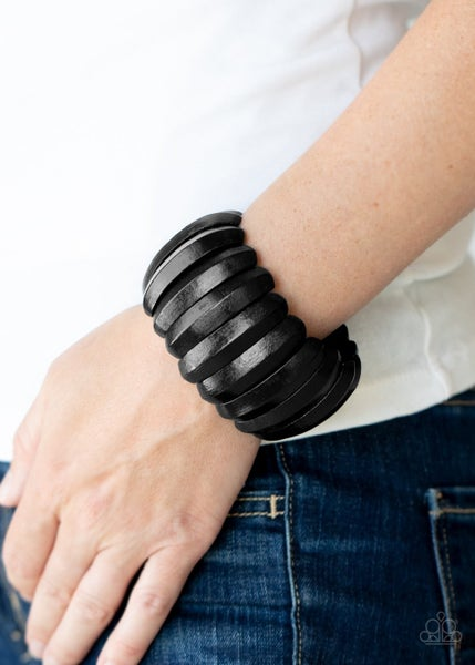 Colorfully Congo - Black Stretchy Bracelet