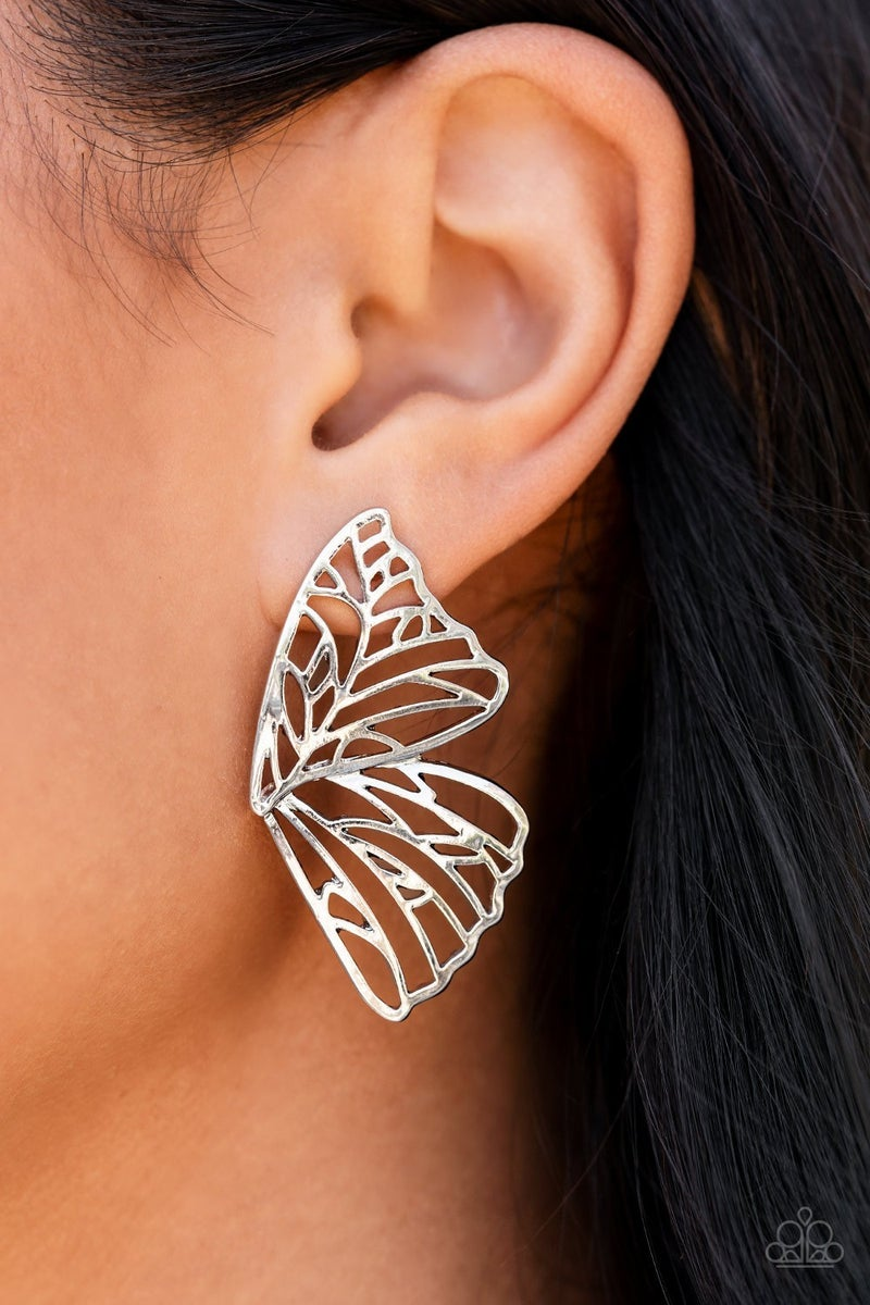 Butterfly Frills - Silver Earrings - Life of the Party Exclusive August 2021