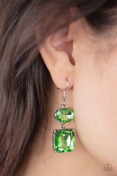 All ICE On Me - Green Earrings