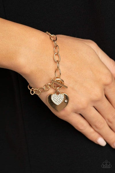 Heartbeat Bedazzle - Gold Bracelet
