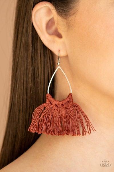 Tassel Treat - Brown Earrings