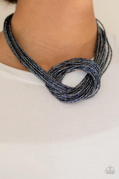Knotted Knockout - Blue Seed Bead Necklace