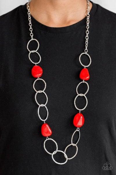 Modern Day Malibu - Red Necklace