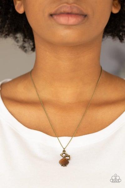 Stylishly Square - Brass Necklace