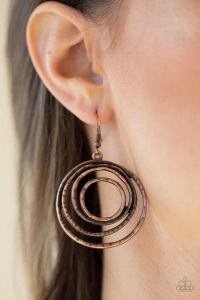 Spiraling Out of Control - Copper Earrings