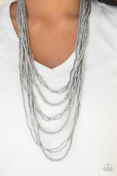 Totally Tonga - Silver Seed Bead Necklace