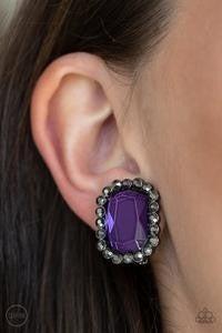 Glitter Enthusiast - Gunmetal Clip-On Earrings