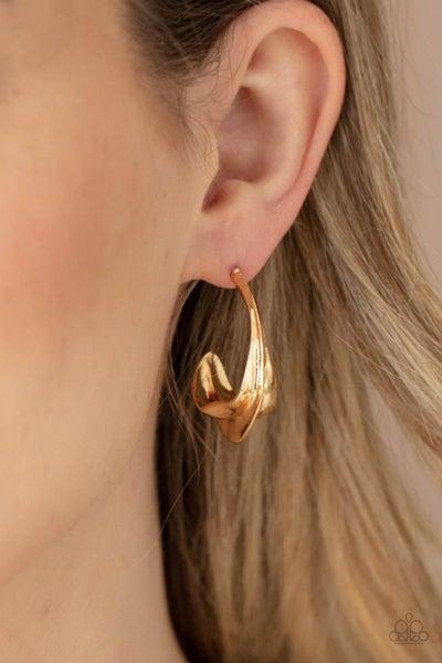 Modern Meltdown - Gold Hoop Earrings