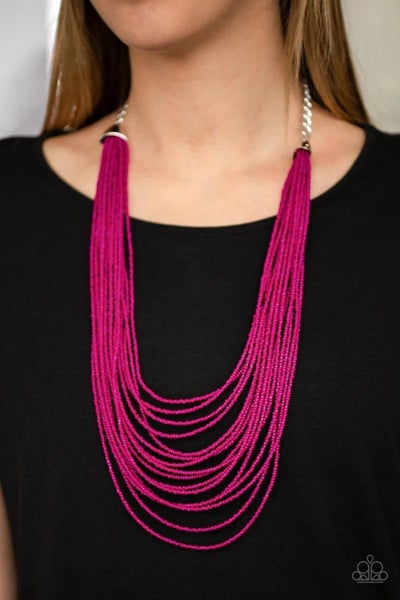 Peacefully Pacific - Pink Seed Bead Necklace