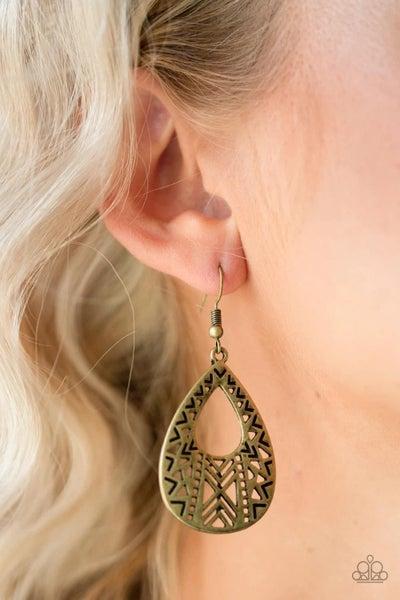 Alpha Amazon - Brass Earrings
