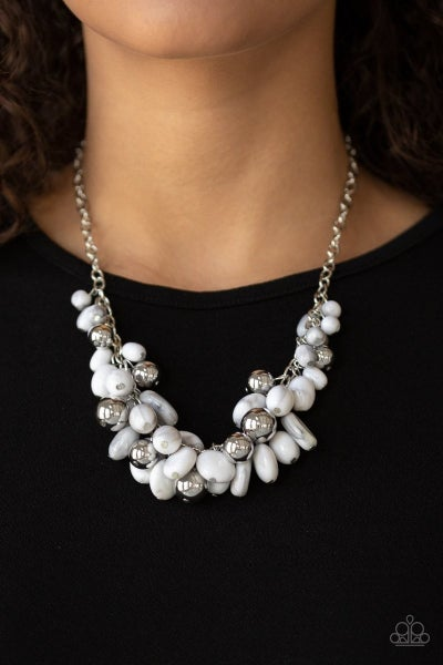 Full Out Fringe - White Necklace