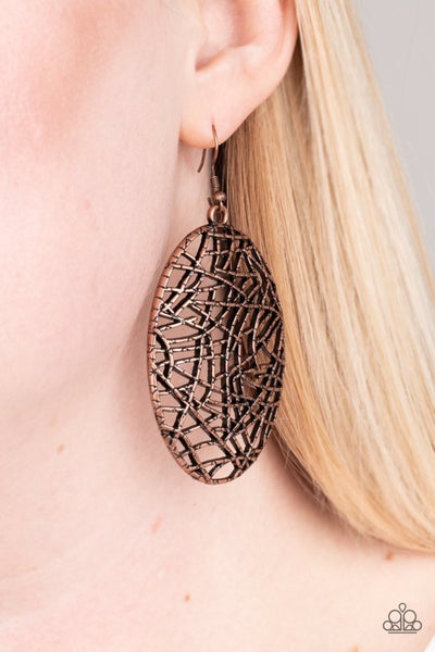 Way Out of Line - Copper Earrings