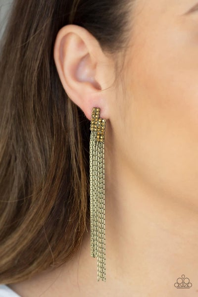Radio Waves - Brass Earrings