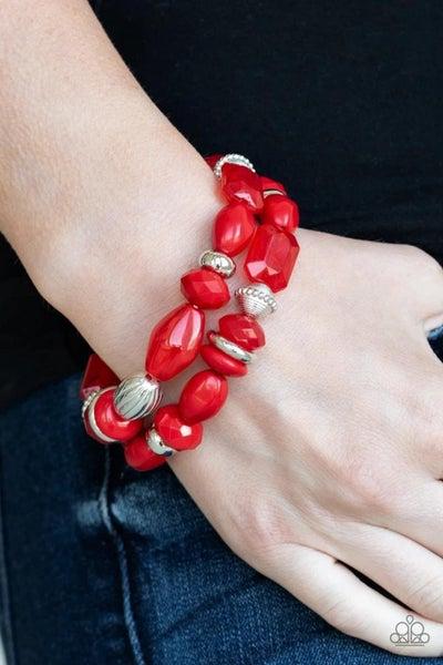 Beach Brunch - Red Stretchy Bracelet