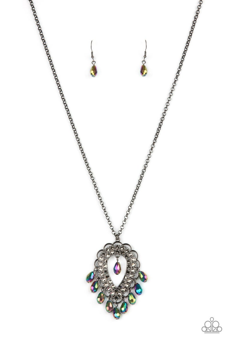 Teasable Teardrops - Gunmetal/Multi Necklace - Life of the Party Exclusive May 2021
