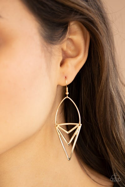 Proceed With Caution - Gold Earrings