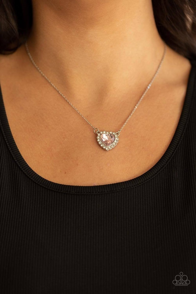 Out of the GLITTERY-ness of Your Heart - Pink Necklace