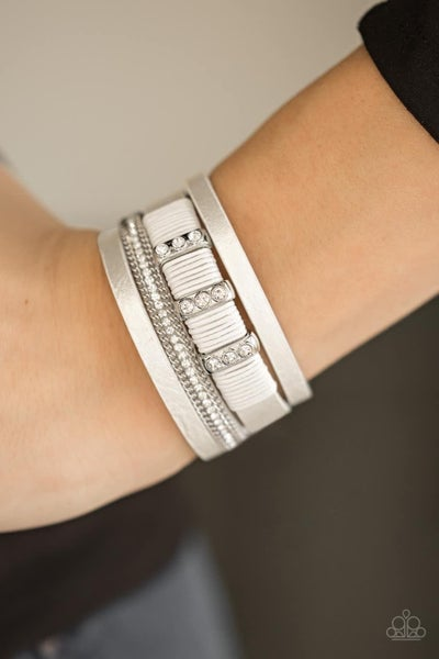 Fame Night - White Clasp Bracelet
