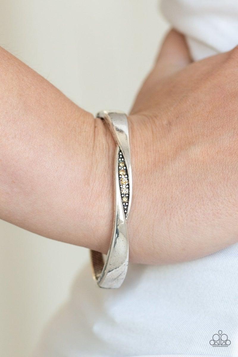 Glittering Grit - Brown Hinged Bracelet