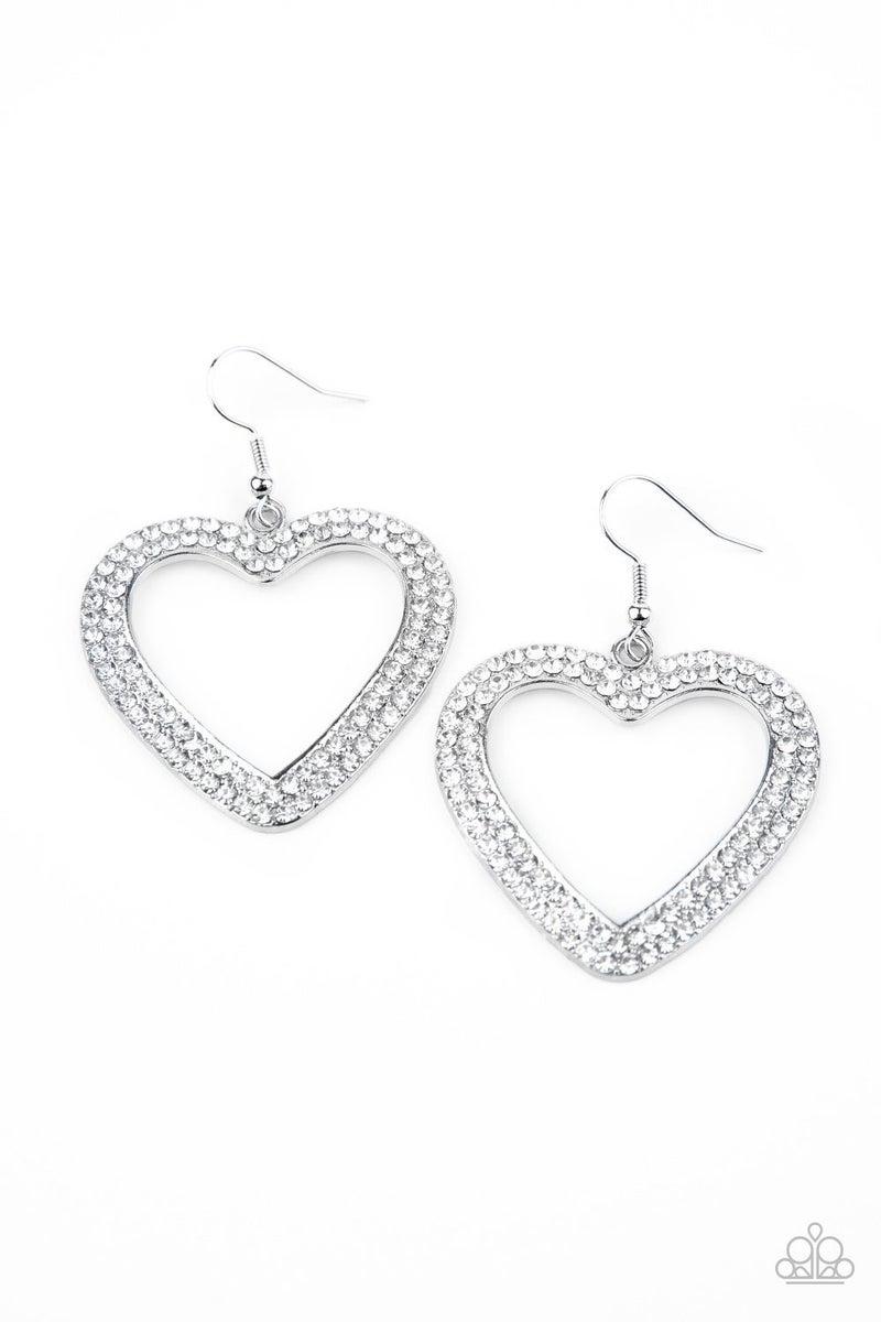 GLISTEN To Your Heart - White Earrings